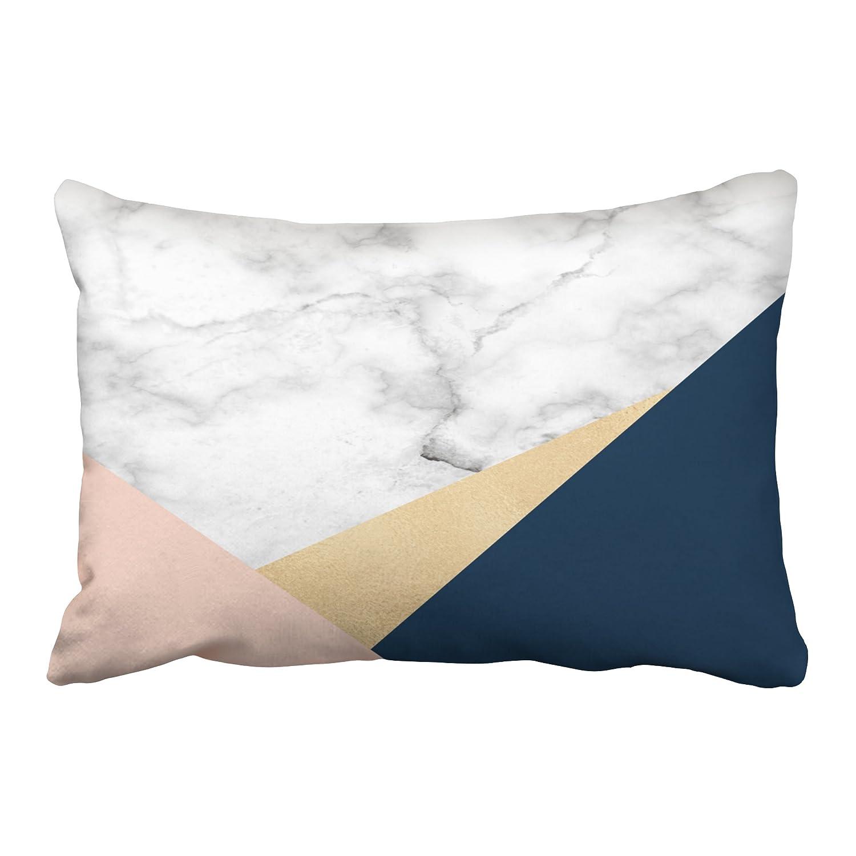 Amazon Com Emvency Pillow Case Elegant White Marble Gold Peach Blue