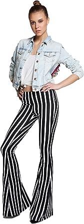 Amazon Com Azzavera Pantalones De Cintura Alta Diseno De Rayas Pantalones De Campana Pantalones Largos De Pierna Pantalones De Yoga Pantalones Boho Para Mujer Clothing