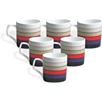 Clay Craft Director Hilton Bone China Coffee Mug Set, 220ml/6.6cm, Set of 6, Multicolour