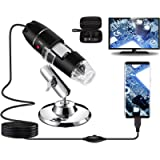 Bysameyee USB Digital Microscope 40X to 1000X, 8 LED Magnification Endoscope Camera with Carrying Case & Metal Stand…