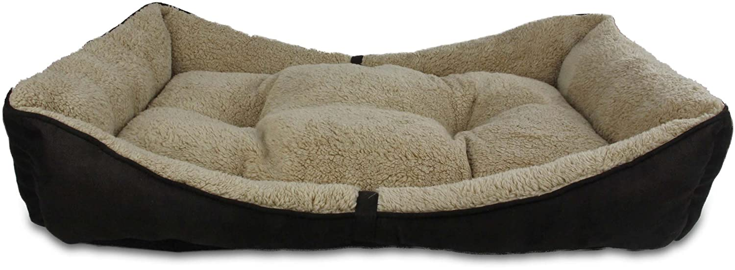 All for Paws Lambswool Bolster Pet Bed, 29 by 19-Inch, Brown