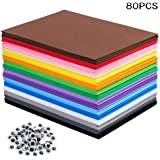 80 PCS EVA Foam Handicraft Sheets, Craft Foam Sheets Assorted Colorful for Craft Projects,Kids DIY Projects Classroom Parties