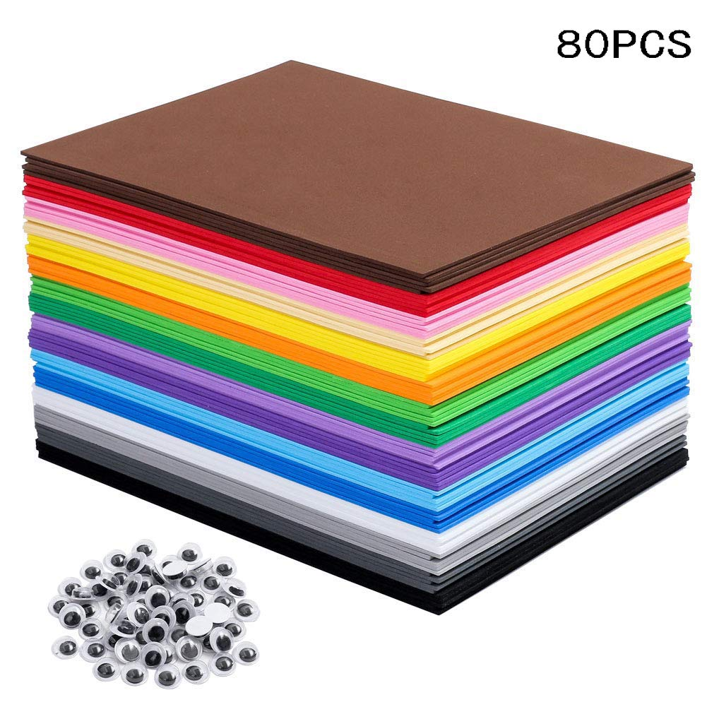 EVA Foam Sheets Great for Craft Projects with Kids DIY Projects Classroom Parties and More (80 Sheets 16 Colors - 8.25 x 5.8 inches) by Tosuced