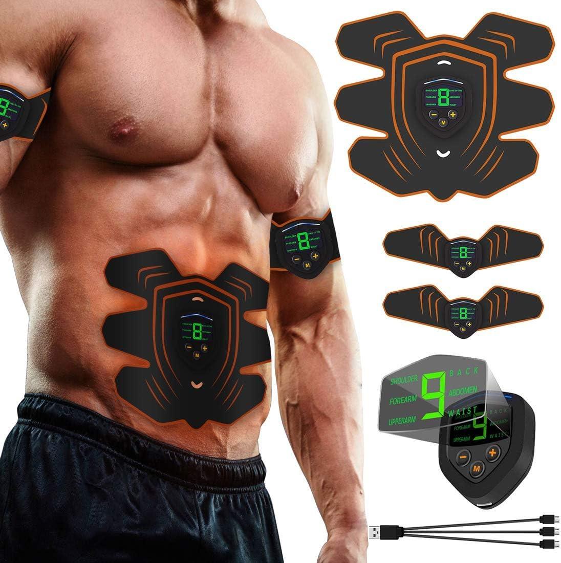 A-TION EMS Muscle Stimulator Abs Trainer Toner 8 Pads Belt Fitness For Men Women