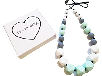 Baby Teething Necklace For Mom; Silicone Teething Beads Teething Pain Relief