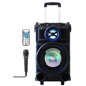 Streetstar Equipo hifi de audio,altavoz Karaoke amplificad potencia máxima 400W• Bluetooth • Puerto USB y SD reproductor MP3 •2 entrada micrófono: ...