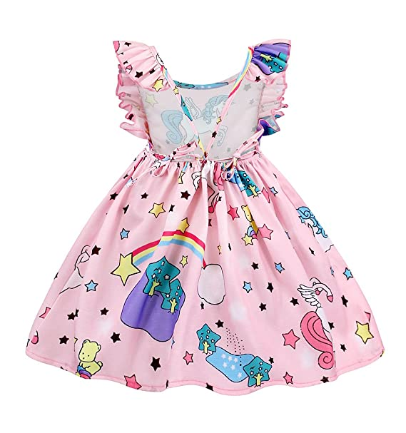 83f61117d9 AmzBarley Unicorn Dress Girls Birthday Party Backless Ruffles Sleeve Kids  Outfit: Amazon.ca: Clothing & Accessories