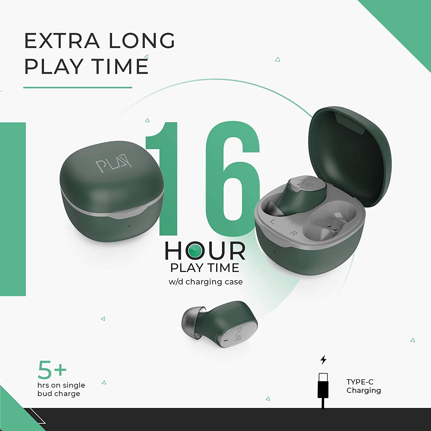 PlayGO T20 Ultralight Wireless Earbuds with EBEL Driver - Best Phones under 15000