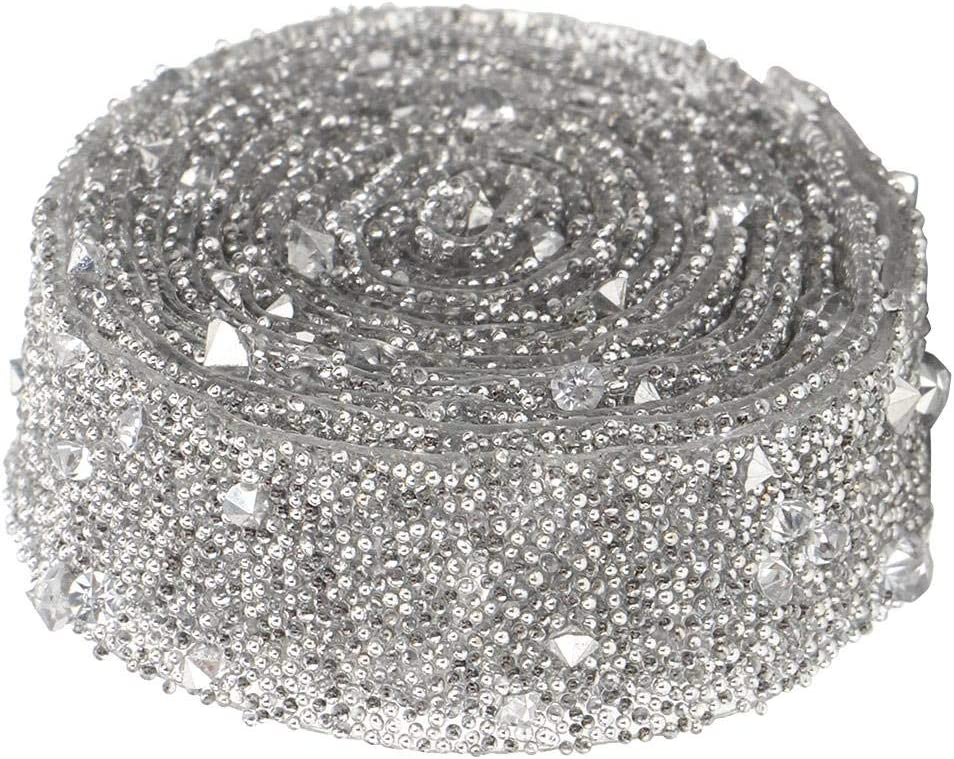 1 Yard Beaded Crystal Ribbon Gray Delicate Shiny Crystal Sequins Beaded Chain Sewing Trims for Clothing and Bridal Embellishments