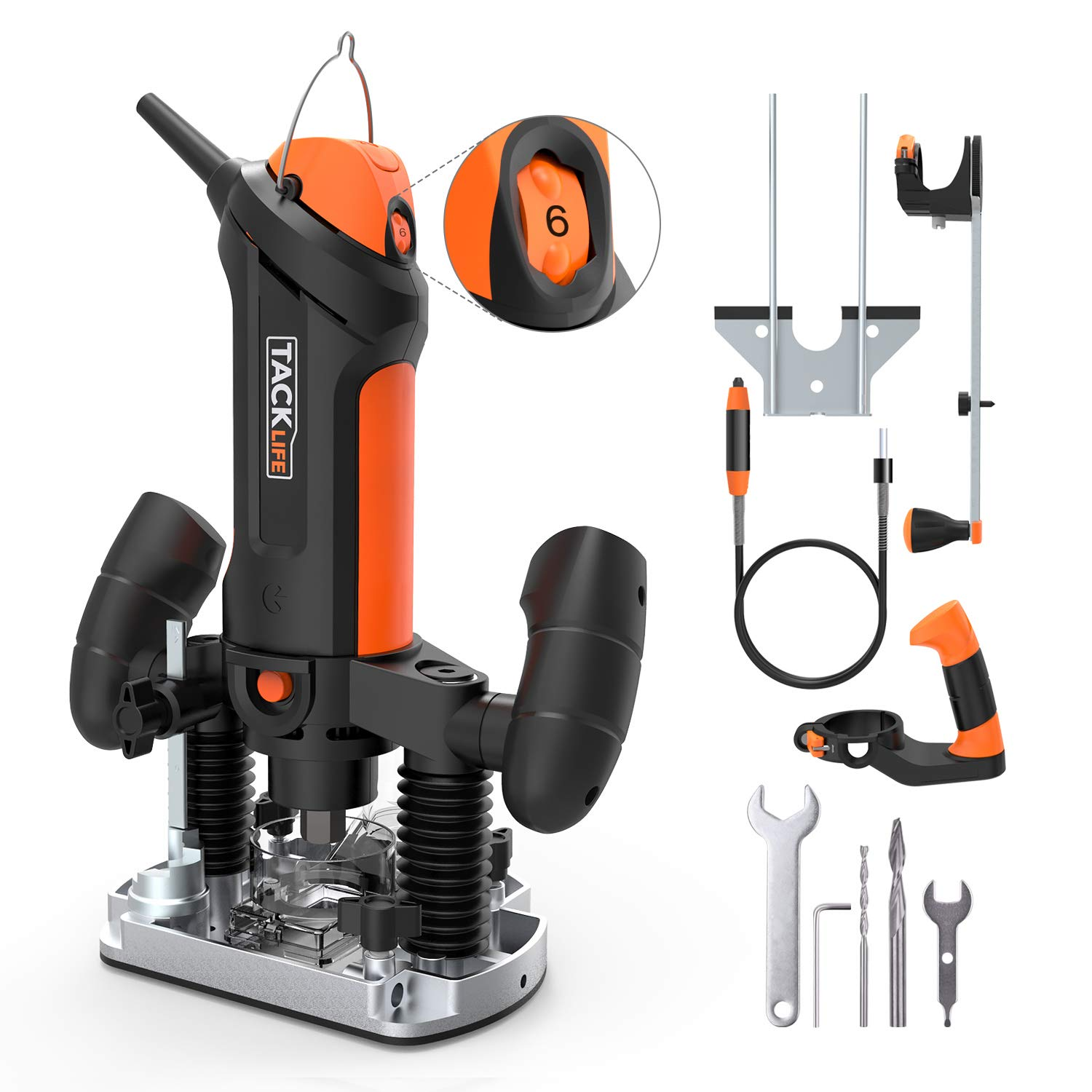 Compact Router, Tacklife 5A 30000RPM Fixed and Plunge Router with 6 Variable Speed, 1000MM Flexible Shaft, 10ft/3M Cable, Auxiliary Handle, Compasses, 2 Router Bit, Aluminum Guide - PTR01A