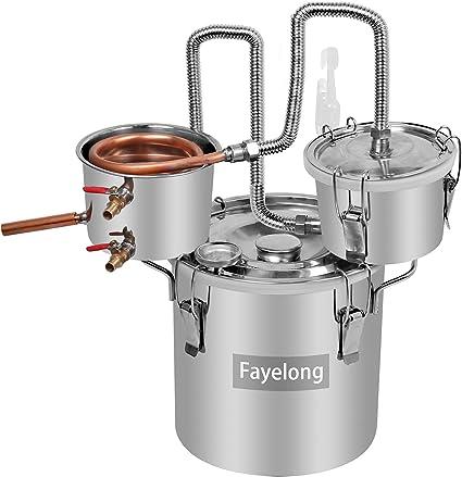 FayeLong - Kit completo para destilación casera: alambique, destilador con serpentín y termómetro, de acero inoxidable, para la destilación de agua, ...