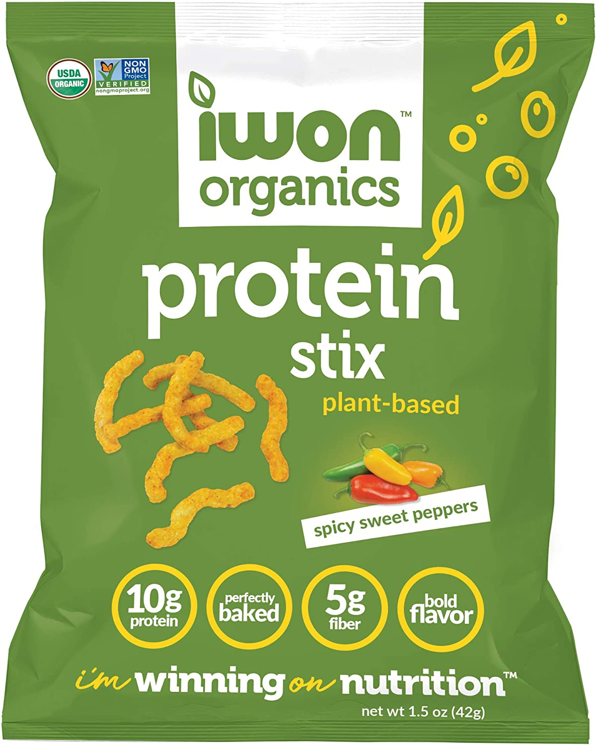 IWON Organics Spicy Sweet Pepper Flavor Snack Stix, High Protein and Organic Healthy Snacks, 8 Bags, 1.5 Ounce