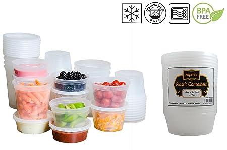 superior ZRL Recipientes de plástico para microondas y congelador, redondos, sin fugas, para guardar alimentos, plástico, 8oz - 235ml