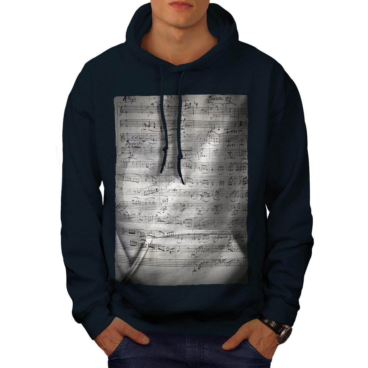 wellcoda Vintage Piano Old Music Mens Hoodie Key Hooded Sweatshirt