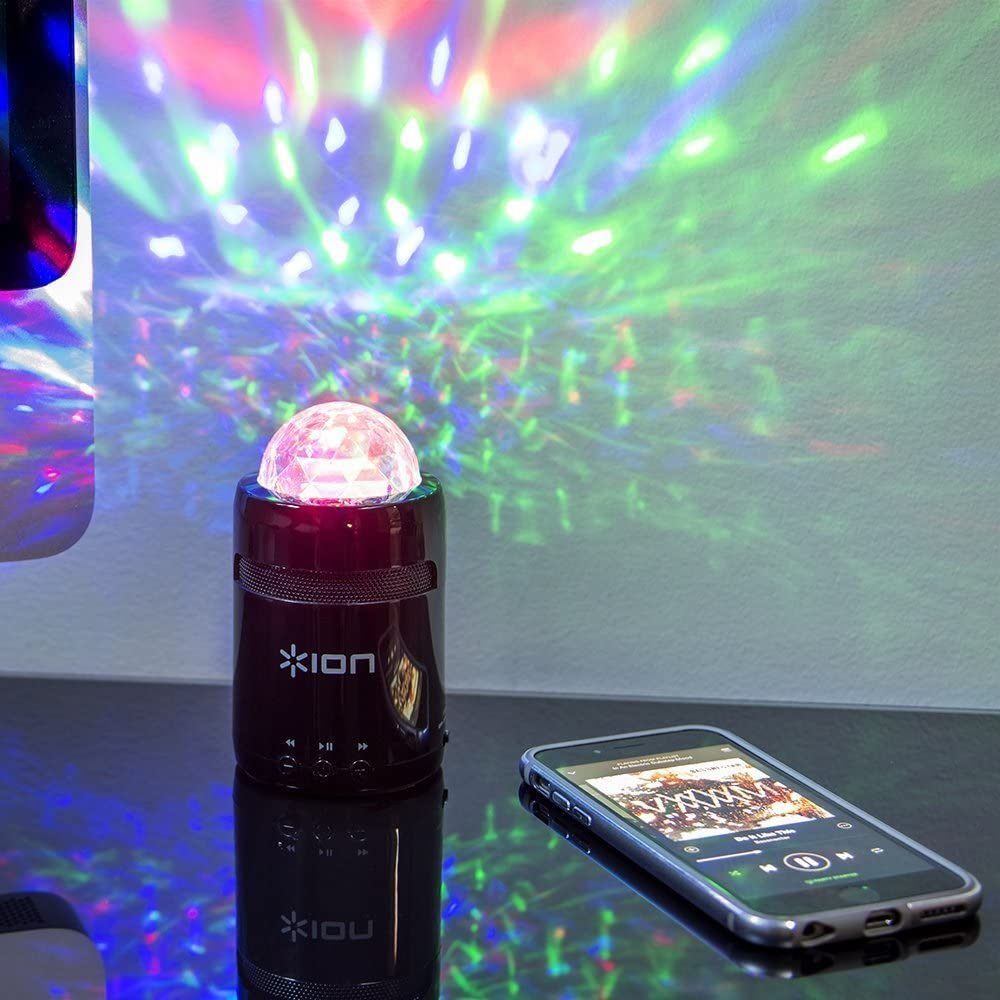 ION Audio Party Starter MK II 3W Pocket-Sized Bluetooth Speaker with Built-In Beat-Sync Light Show