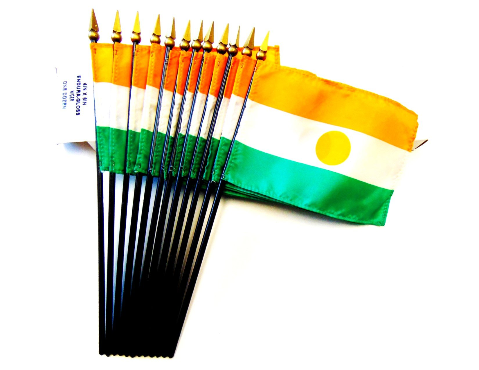 MADE IN USA!! Box of 12 Niger 4''x6'' Miniature Desk & Table Flags; 12 American Made Small Mini Niger Flags in a Custom Made Cardboard Box Specifically Made for These Flags