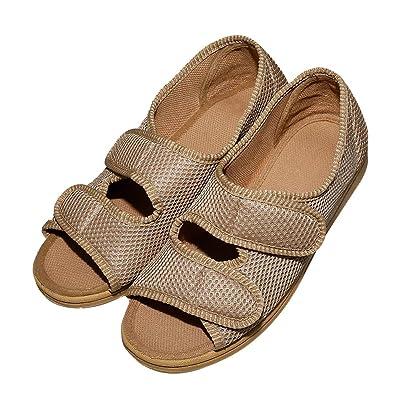 Amazon.com   Cozy Ankle Women's Diabetic Sandals Extra Wide Open Toe Shoes Flat Feet Arthritis Edema Mesh Slippers for Elderly Woman   Slippers