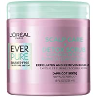 L'Oreal Paris EverPure Sulfate Free Scalp Care + Detox Scrub with apricot seed, Exfoliates Scalp and Removes unwanted impurities, excess oil and product build-up, 8 fl. oz.