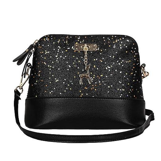 468ff28fb1c7 WILLTOO Womens Sequins Bag Fashion Handbag Purse Crossbody Shoulder  Messenger Bag Deer (Black)