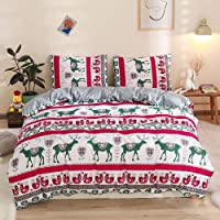 Erosebridal Christmas Comforter Cover Twin Size Elk Santa Claus Deer Pattern Bedding Set Winter New Year Xmas Home Decor Soft Reversible Duvet Cover for Kids Girls Boys Merry with 1 Pillowcase