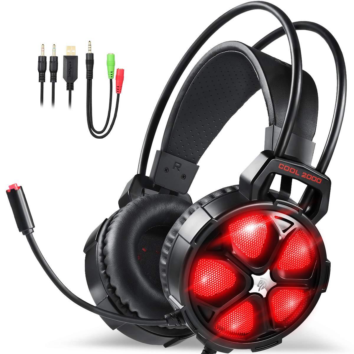 JAMSWALL Gaming Headset 3.5mm Wired Over-head Cuffie stereo con microfono  Microfono Controllo volume per ... 6d76d611820a