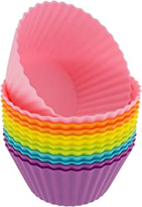 Freshware Silicone Cupcake Liners/Baking Cups - 12-Pack Muffin Molds, 2-6/8 inch Round, Six Vibrant Colors