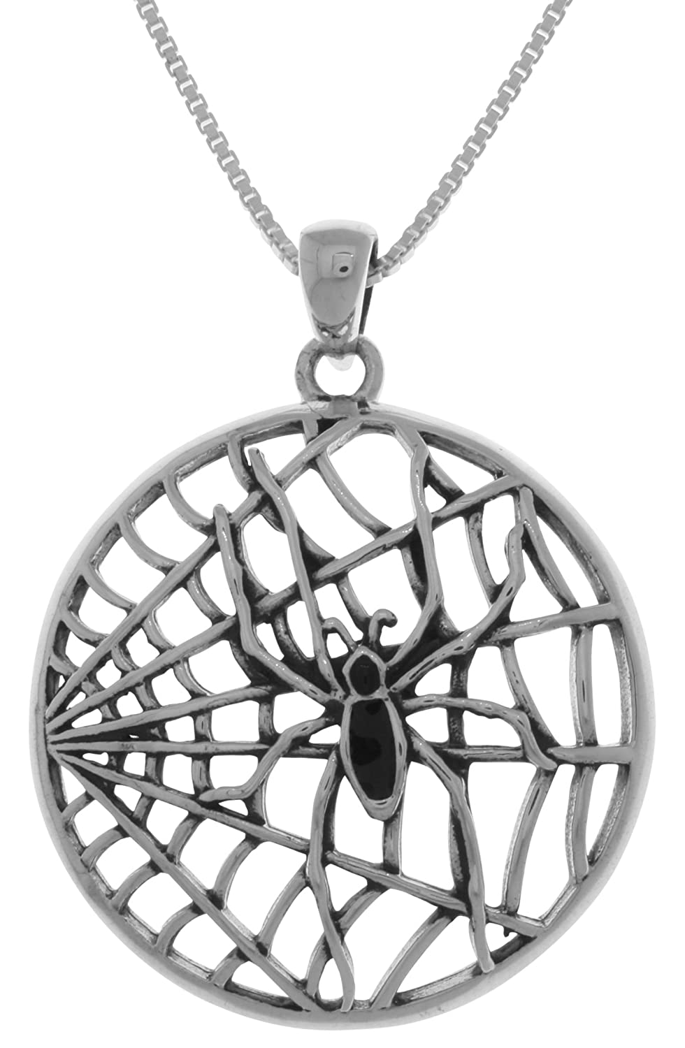 Jewelry Trends Spider Web Insect Bug Sterling Silver Pendant Necklace 18