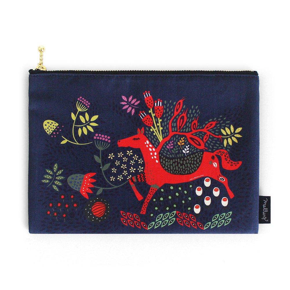 MallangLuna Canvas Pencil Case - 7.8 x 5.5'' - Cotton Handmade Pouch for Pencil, Pen, Cosmetics, Travel (My Garden)