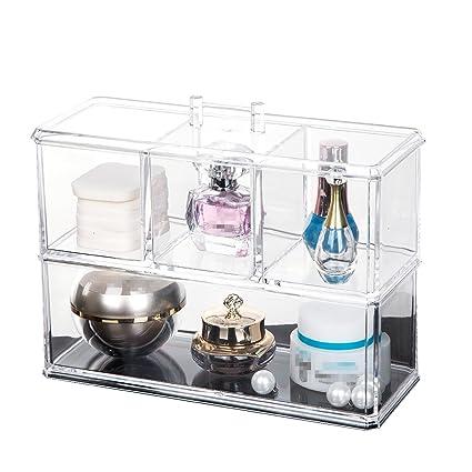 Organizadores de maquillaje de acrílico transparente, caja de almacenamiento de cosméticos, organizador de cosméticos