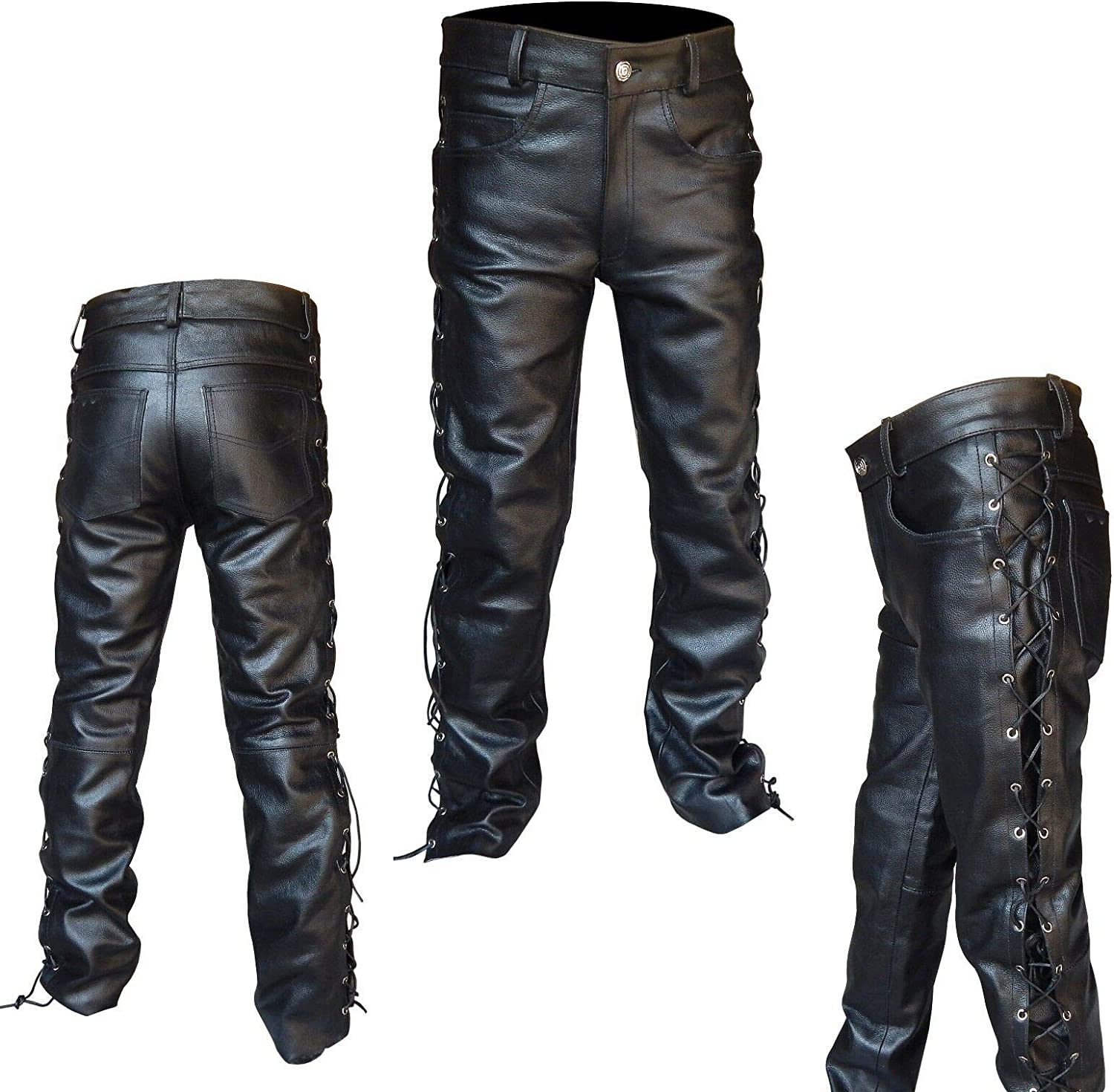 Men's Thick Cowhide Leather Side Laces Jeans