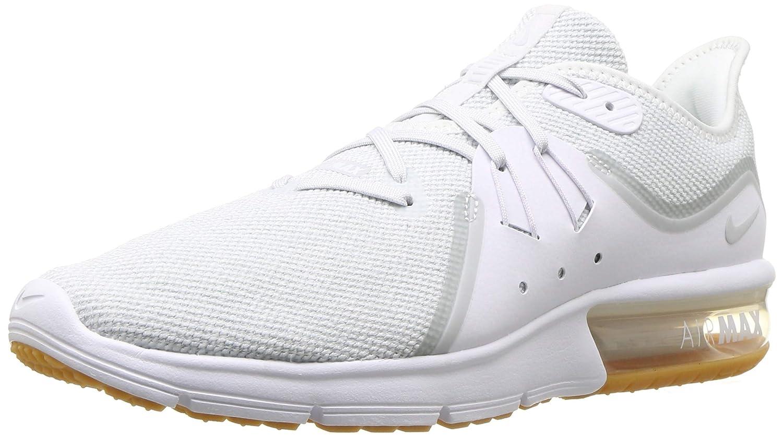 Nike Air MAX Sequent 3, Hausschuhe de Running para Hombre Weiß Pure Platinum