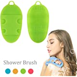 Pure Silicone Body Massage Brush Body Wash Bath Shower Tool, Soft Texture Anti- Bacterial Mildew-Free, Exfoliating Skin Spa Massage Scrubber (Green)