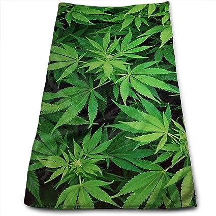 Toallas de mano grandes de microfibra (marihuana de hierba verde de cannabis - 12 x