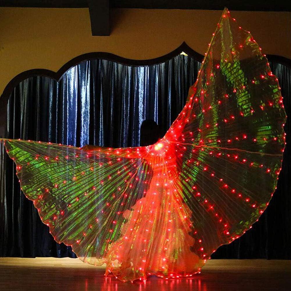 KT Mall Belly Dance LED Ali di Iside Glow Light Up con Bastoni di Danza Fata Apertura di Danza del Ventre Ali Stage Performance Props Carnevale Halloween
