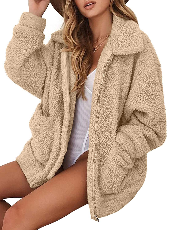 FARYSAYS Women's Casual Zip Down Fuzzy Fleece Hooded Jacket Fluffy Coat Cardigans Outwear JS85168