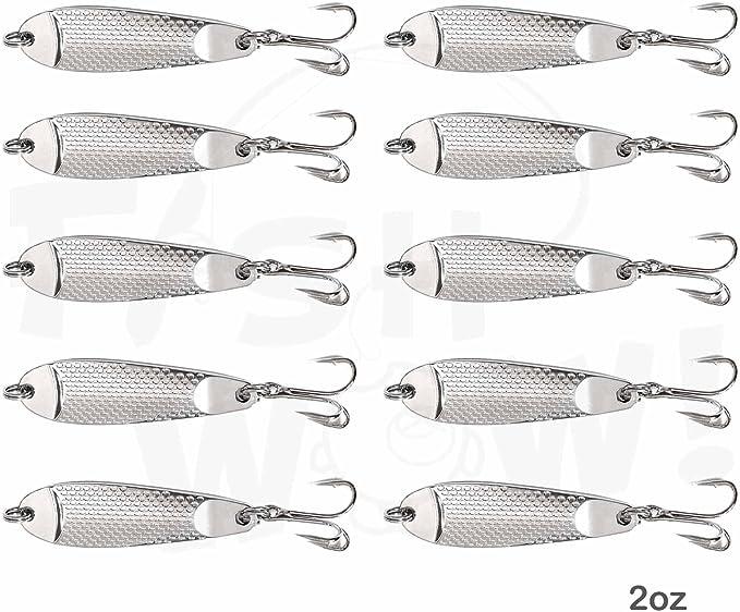 10pcs 1oz Silver Chrome Fishing Spoons Treble Hook Casting Fish Jigs Lures New