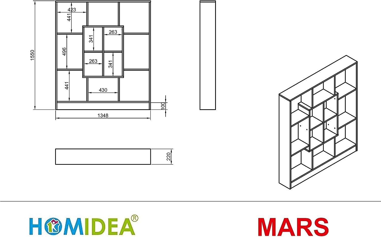 Bianco HOMIDEA Mars Libreria Scaffale per Ufficio//Soggiorno dal Design Moderno Scaffale per Libri