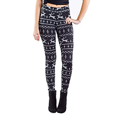 Women's Black Reindeer Christmas Leggings - Cute Holiday Tights for Women at Women's Clothing store