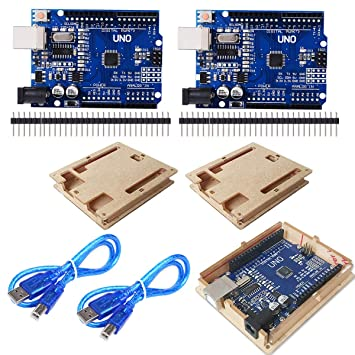CMYKZONE 2 Unids UNO R3 ATmega328P Placa de Desarrollo CH340 Compatible Arduino IDE + Cable USB + Clavija de Cabezal + Pin Recto