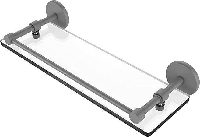 Allied Brass P1000-1//22-GAL-GYM 22 Inch Tempered Glass Shelf with Gallery Rail Matte Gray