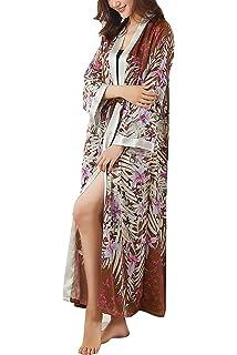 ArtiDeco Women s Kimono Dressing Gown Satin Kimono Robe Long Chinese ... cdc844ef4