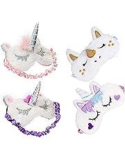 ETCBUYS Unicorn Kids Sleeping Mask – Cute Eye Mask for Sleeping, Soft, Unicorn Horn, Mask for Girls, Women, Kids (4 Pack)