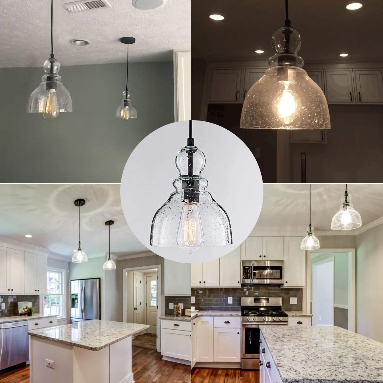 LANROS Industrial Mini Pendant Lighting with Handblown Clear Seeded Glass Shade, Adjustable Cord Farmhouse Lamp Ceiling Pendant Light Fixture for Kitchen Island Restaurant Kitchen Sink, Black, 1 Pack - -