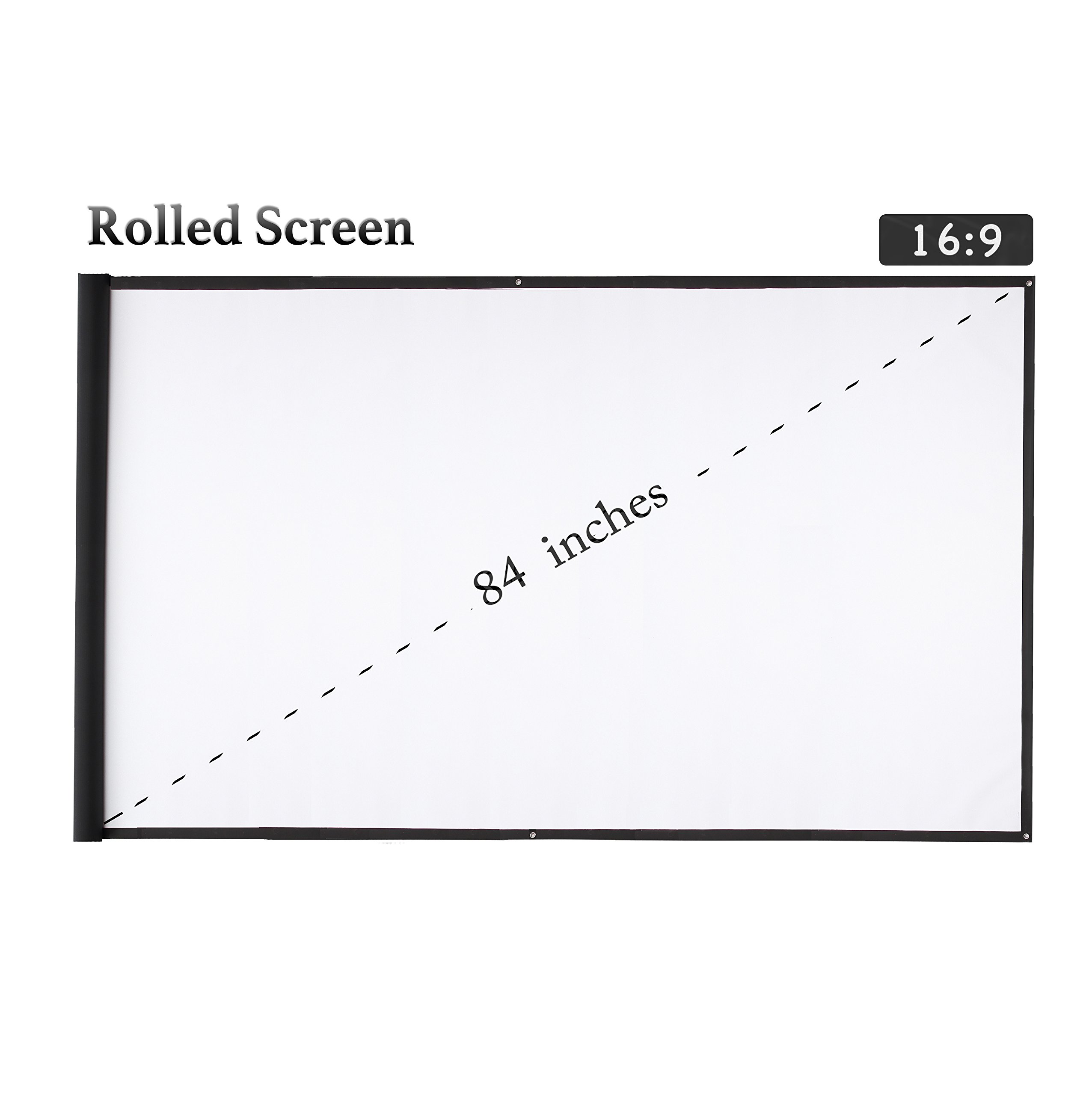Varmax Portable Projector Screen for Home and Outdoor Movie and Presentation 84 inch 16:9 Support 3k/4k/8k/1080p/HD