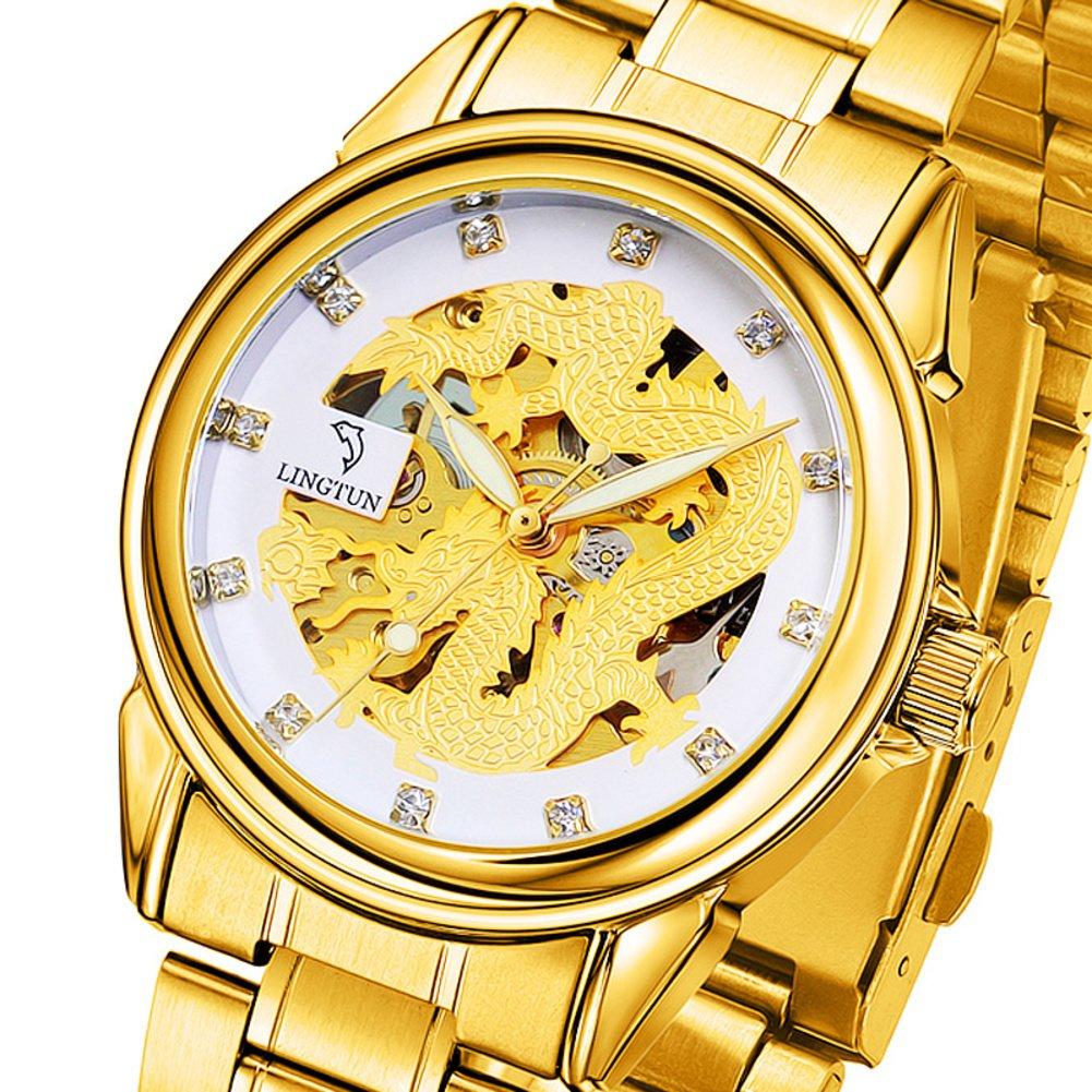 メンズ腕時計、自動中空機械watch-g Watch光学生 B077RZ6PGS