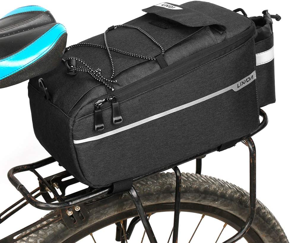 Lixada Insulated Bag for Warm/Cool Items, Bicycle Rear Rack Storage Luggage, Bicycle Seat Multifunctional Insulated Trunk Cooler Bag, Shoulder Bag, 11.4 6.3 6.7in