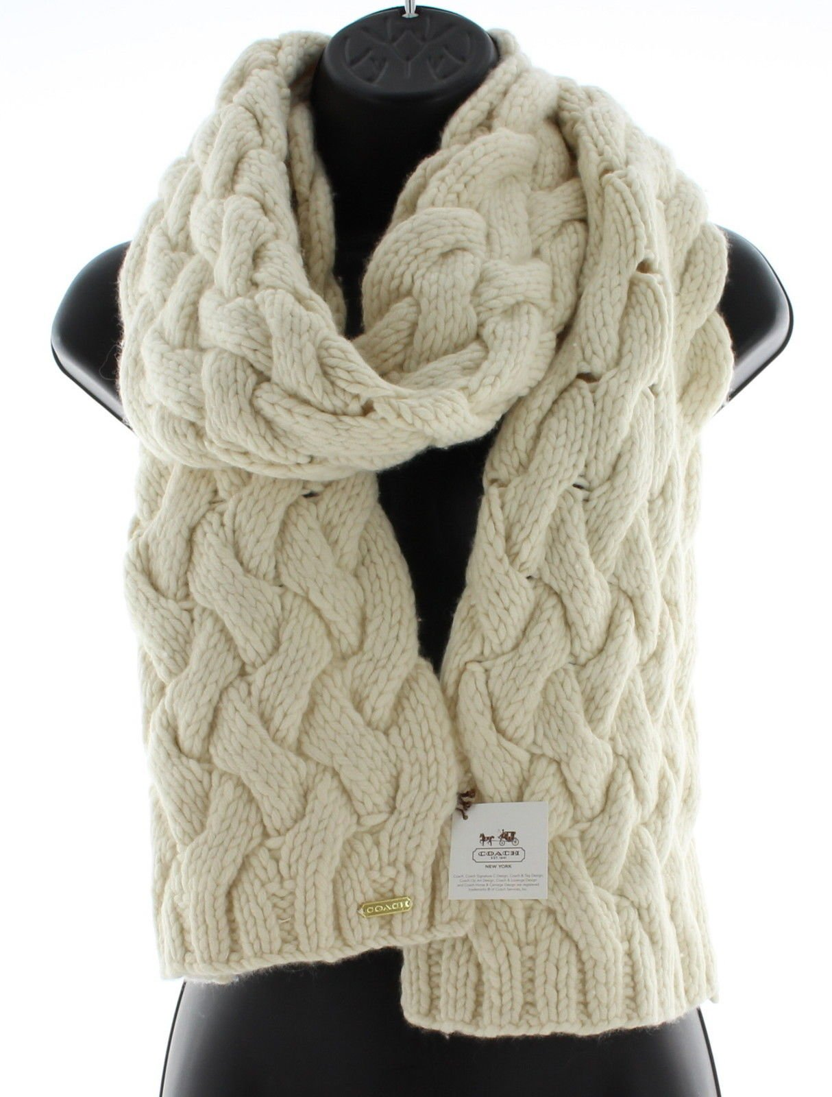 Coach Wool Cashmere Braided Cable Knit Winter Scarf (Cream) by Coach