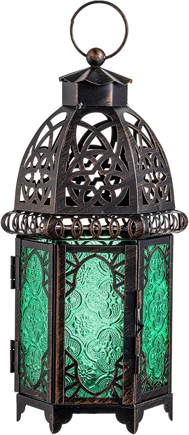 DECORKEY Vintage Candle Lantern, Moroccan Style Decorative Hanging Lantern, Metal Tabletop Lantern, Halloween Candle Holders for Outdoor Patio (Green)