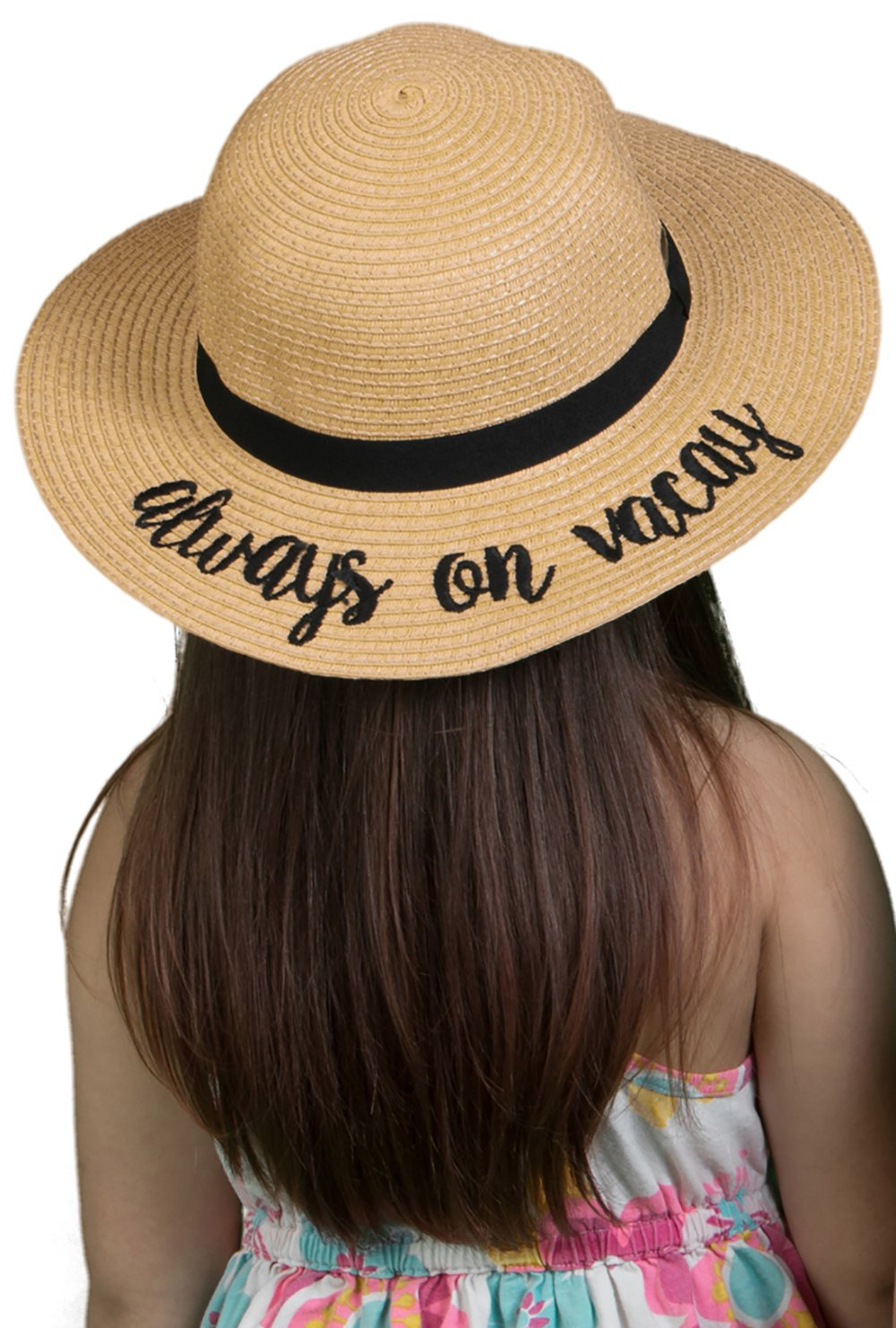 H-3017-AOV06 Girls Embroidered Sun Hat - Always on Vacay (Natural)
