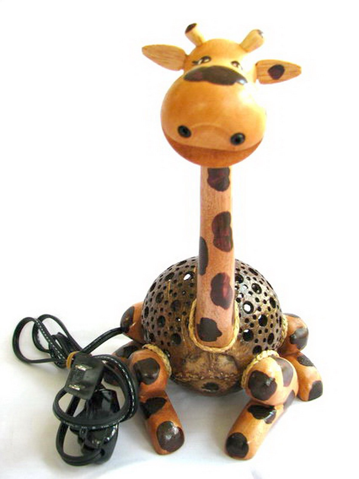 Coconut Shell Lamp - Giraffe Lamp 10'' Height - Wooden Crafts Handmade of Thailand Craftsman
